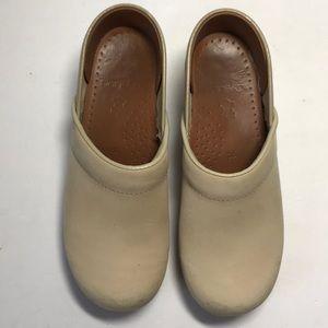 Dansko Beige Professional Stapled Clogs Size 6